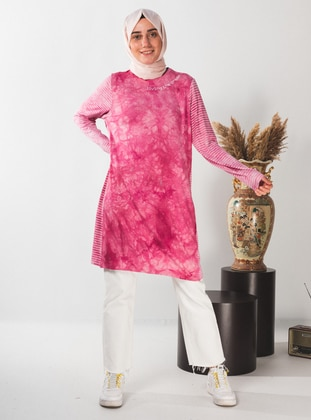 Pink - Multi - Crew neck - Tunic