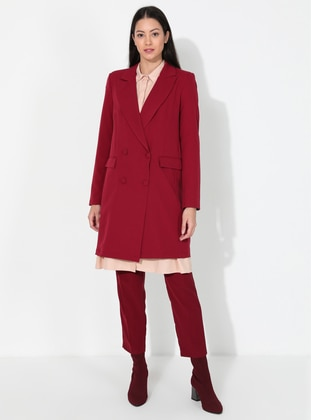 Maroon - Unlined - V neck Collar - Jacket