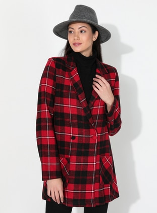 Red - Plaid - Unlined - V neck Collar - Acrylic -  - Jacket - Fashion Light