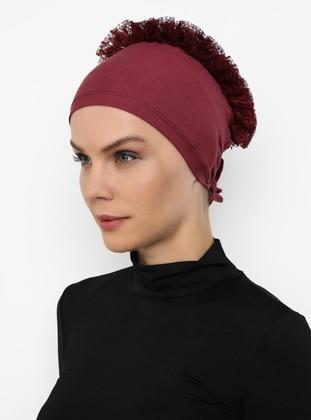 Maroon - Lace up -  - Bonnet
