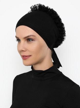 Black - Lace up - - Bonnet