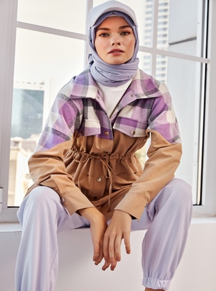 Lilac - Mink - - Point Collar - Tracksuit Top