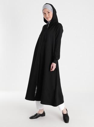Hood Detailed Zippered Sports Topcoat - Black