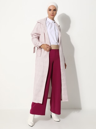 Pink - Checkered - Unlined - V neck Collar - Linen - Topcoat