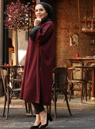 Maroon - Point Collar - Unlined -  - Poncho