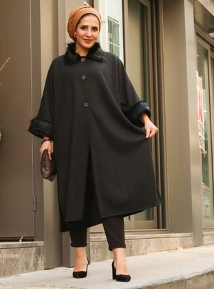 Black - Point Collar - Unlined -  - Poncho