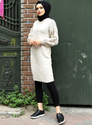 Stone - Crew neck - Unlined - Knit Tunics