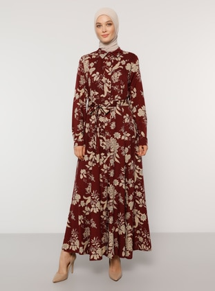 Maroon - Floral - Point Collar - Unlined - Dress