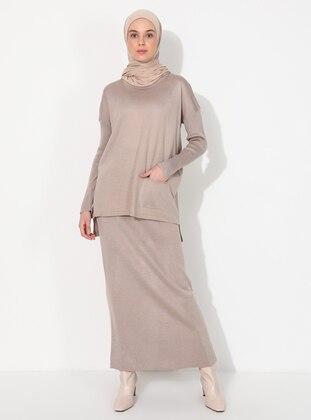 Beige - Stripe - Unlined - Acrylic -  - Knit Suits