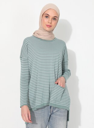 Green Almond - Ecru - Stripe - Crew neck - Unlined - Knit Tunics