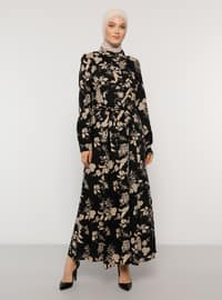 Black - Floral - Point Collar - Unlined - Dress