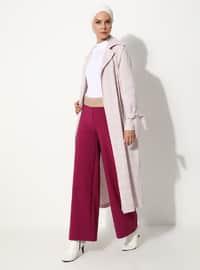 Pink - Checkered - Unlined - V neck Collar - Linen - Topcoat