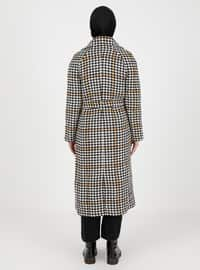Camel - Houndstooth - Unlined - V neck Collar - Acrylic -  - Coat