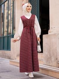 Maroon - Checkered - V neck Collar - Unlined -  - Dress