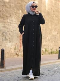 Siyah - Fransız yakalı - - Elbise
