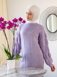 Lilac - Crew neck - Unlined - Knit Tunics