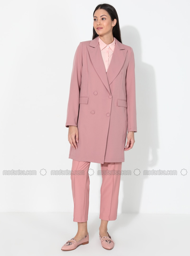 Dusty Rose - Unlined - V neck Collar - Jacket