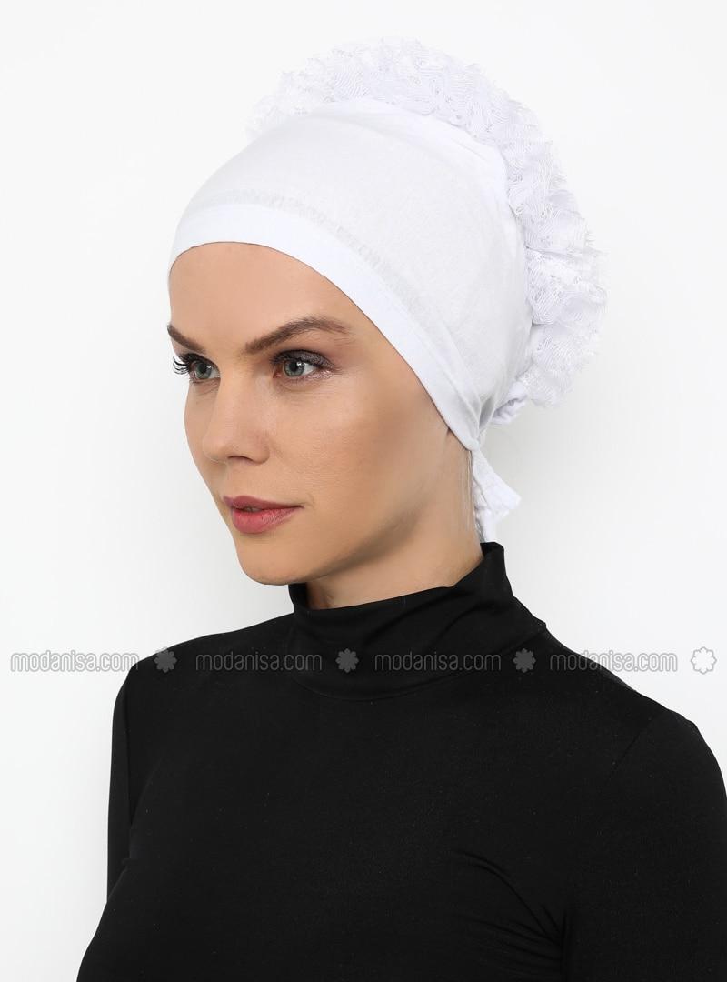 White - Lace up -  - Bonnet