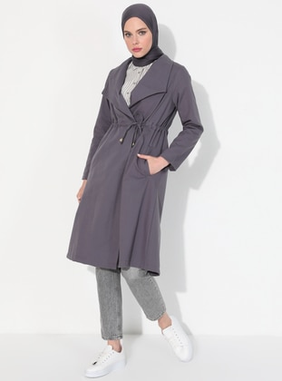 Gray - Unlined - Polo neck -  - Trench Coat