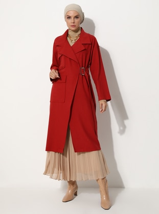 Red - Unlined - V neck Collar - - Wool Blend - Coat