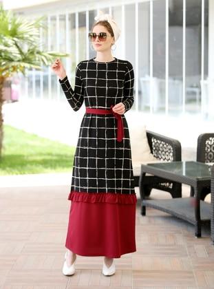 Red - Checkered - Crew neck - Dress