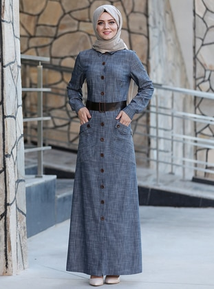 Smoke - Point Collar - Unlined - Dress