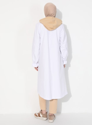 White - Unlined - Polo neck -  - Trench Coat