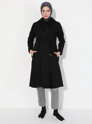 Black - Unlined - Polo neck -  - Trench Coat