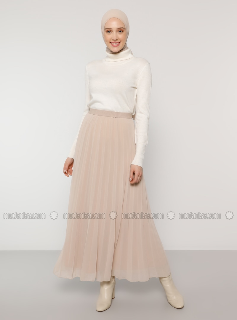 Beige - Fully Lined - Skirt