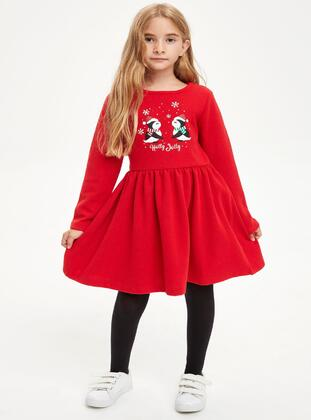 Red - Girls` Dress - DeFacto