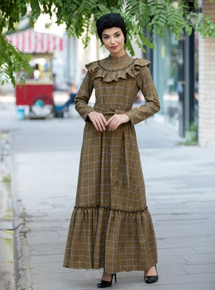 Mustard - Plaid - Polo neck - Unlined - - Dress