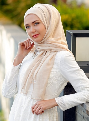 Cream - Plain -  - Shawl