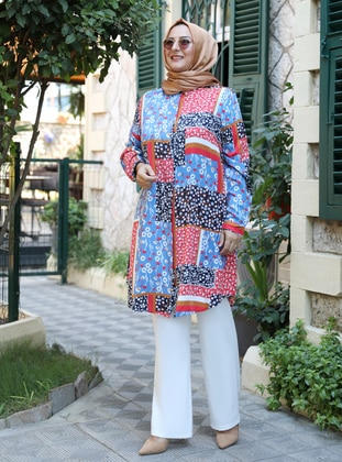 Blue - Floral - Point Collar - Viscose - Tunic