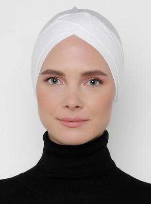 White - Plain - Bonnet -  Bone