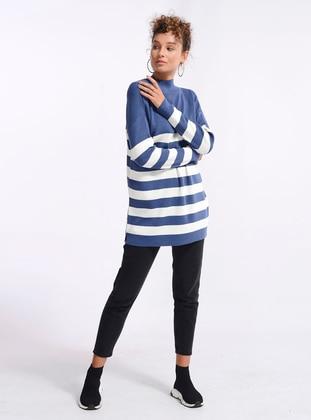 Indigo - Stripe - Polo neck - Knit Tunics