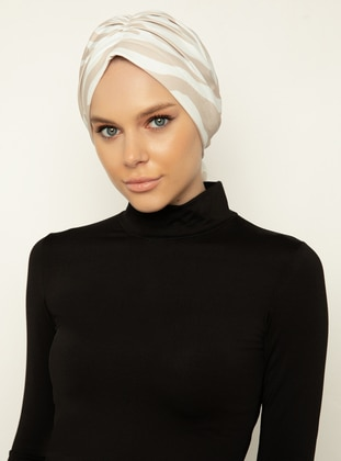 Beige - White - Printed - Instant Scarf