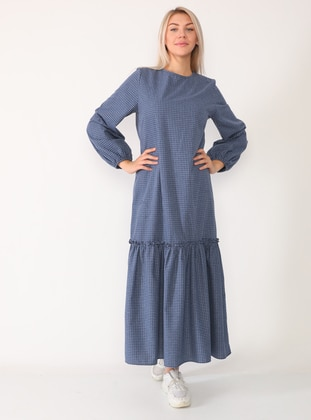 Navy Blue - Navy Blue - Checkered - Crew neck - Unlined - Viscose - Dress