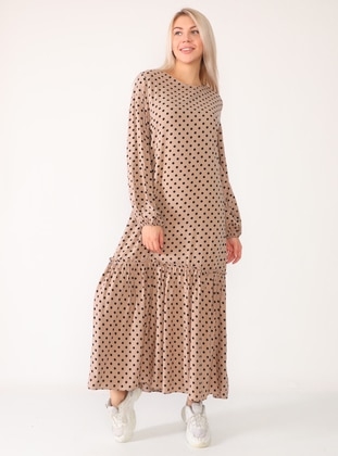 Mink - Mink - Polka Dot - Crew neck - Unlined - Viscose - Dress