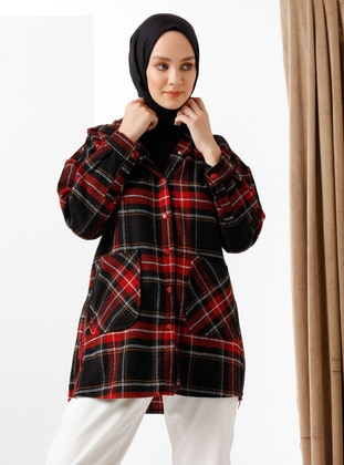 Red - Plaid - Unlined - Topcoat