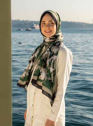 Multi - Green - Floral - Printed - Shawl -  Şal