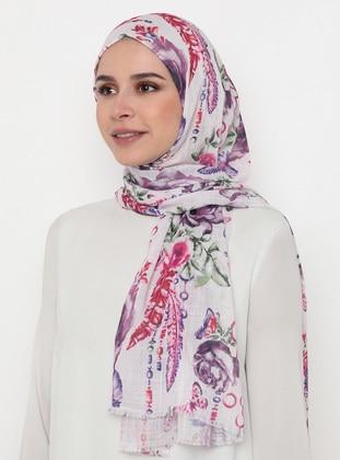 Lilac - Floral - Printed - Shawl