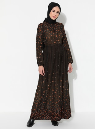 Khaki - Black - Multi - Crew neck - Unlined - Dress
