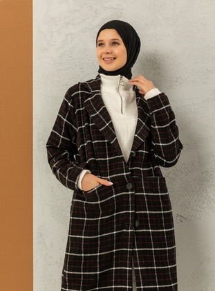Red - Black - Plaid - Fully Lined - Shawl Collar - Red - Black - Plaid - Fully Lined - Shawl Collar - Red - Black - Plaid - Fully Lined - Shawl Collar - Red - Black - Plaid - Fully Lined - Shawl Collar - Coat