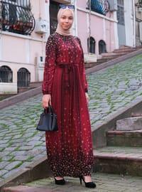 Bordo - Siyah - Çok Renkli - Yuvarlak yakalı - Astarsız - Elbise