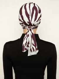 White - Maroon - Printed - Instant Scarf