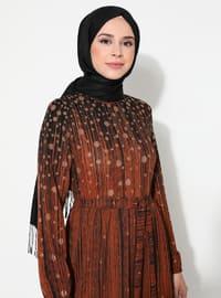 Hardal - Siyah - Çok Renkli - Yuvarlak yakalı - Astarsız - Elbise