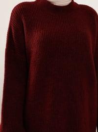 Maroon - Crew neck - Knit Tunics