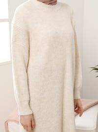 Ecru - Crew neck - Knit Tunics