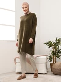 Khaki - Crew neck - Knit Tunics
