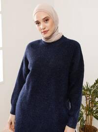 Navy Blue - Crew neck - Knit Tunics